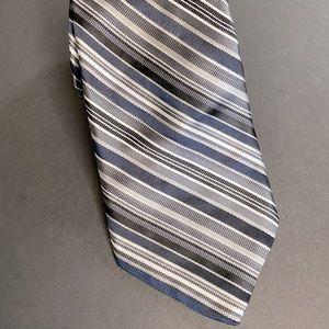 Michael Kors blue black striped neck tie men's